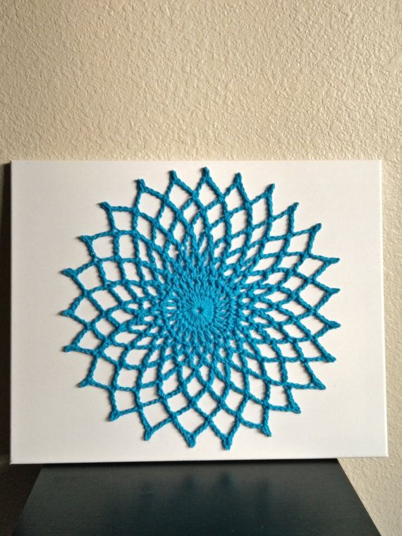 Wall Art Mandala Crochet Wall Hanging Yoga Mandala by Woolables