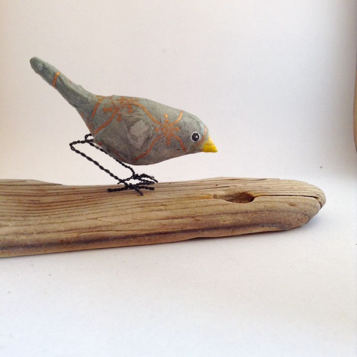 Tiny bronze patterned bird of Paperclay and Metal, Bird figurine by maritmoss on Etsy