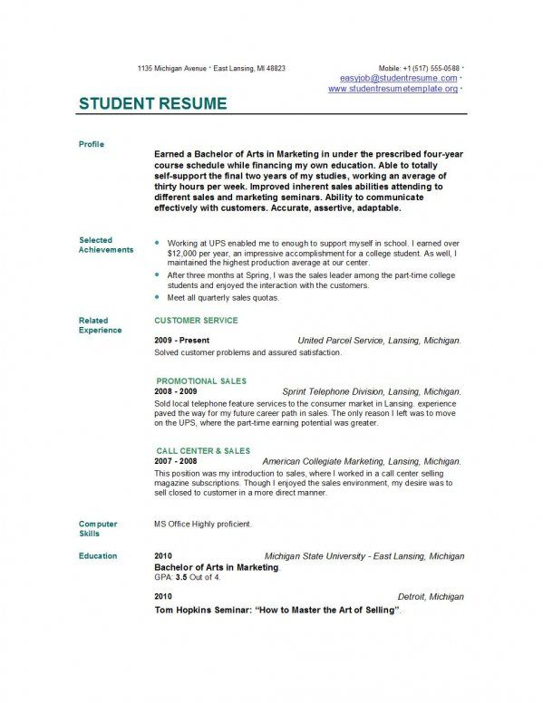 Resume Template For Students | Resume Templates And Resume Builder