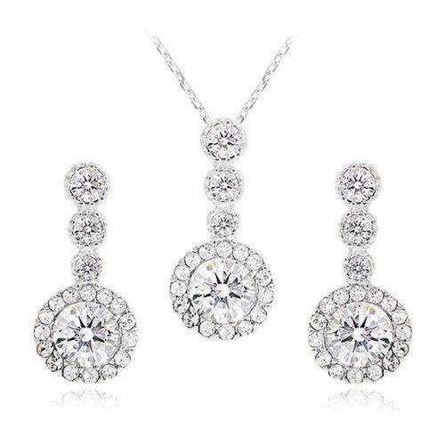 Swarovski Cristal Jewelry BrightCircle  Earing Necklace Sets[E_0302,N_0223] #SwarovskiCristalShopKBeauty