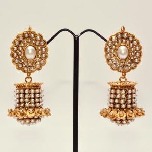 Designer jhumkas with pearls