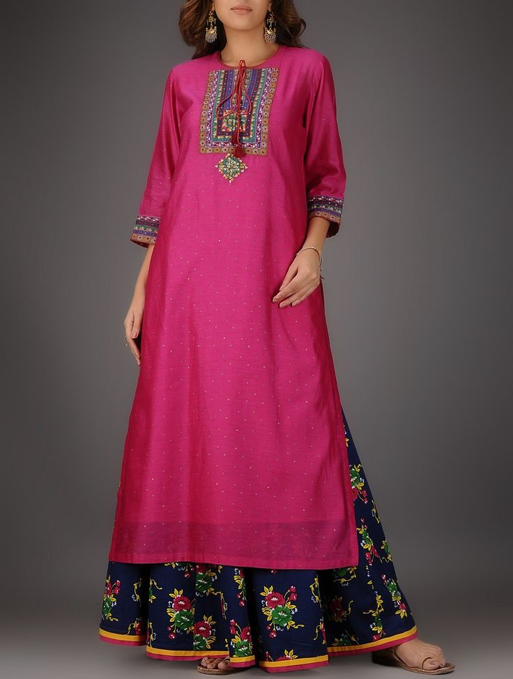 Buy Fuchsia Round Neck Chanderi Kurta with Embroidery and Slip (Set of 2) Online at Jaypore.com