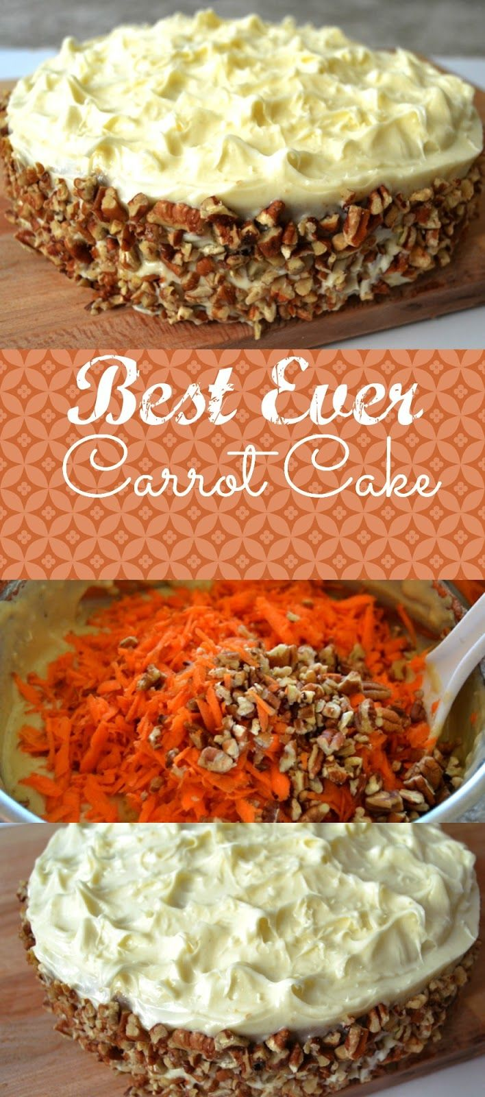 Best Ever Carrot Cake (includes caramel sauce layer that absorbs into bottom layer before adding cream cheese icing)