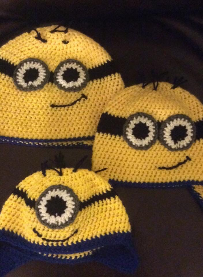 Crocheted minion hats