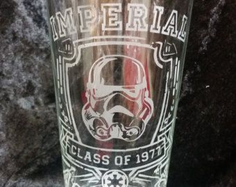 Star Wars Inspired Imperial Academy inspired Starwars style Etched Pint Glass Etched Glassware Funny Star Wars Imperial Trooper 1977