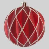 80mm Red matt Textural Harlequin ball w/ White Glitter Code:  BADE008REWHGLHEI