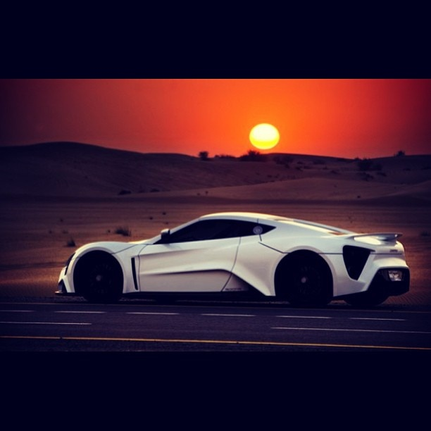 Beautiful Sunset In The Desert With A Zenvo ST1 Need A Quote For Luxury  Automobile Insurance