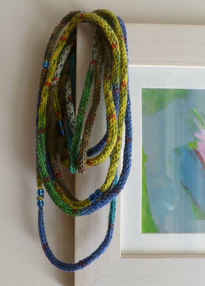 French knitted necklace with beads