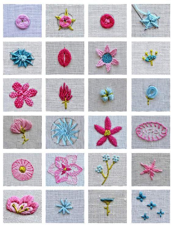 Flower embroidery tutorial stitch book, botanical embroidery, modern flower wreath embroidery pattern, learn embroidery, beginner embroidery