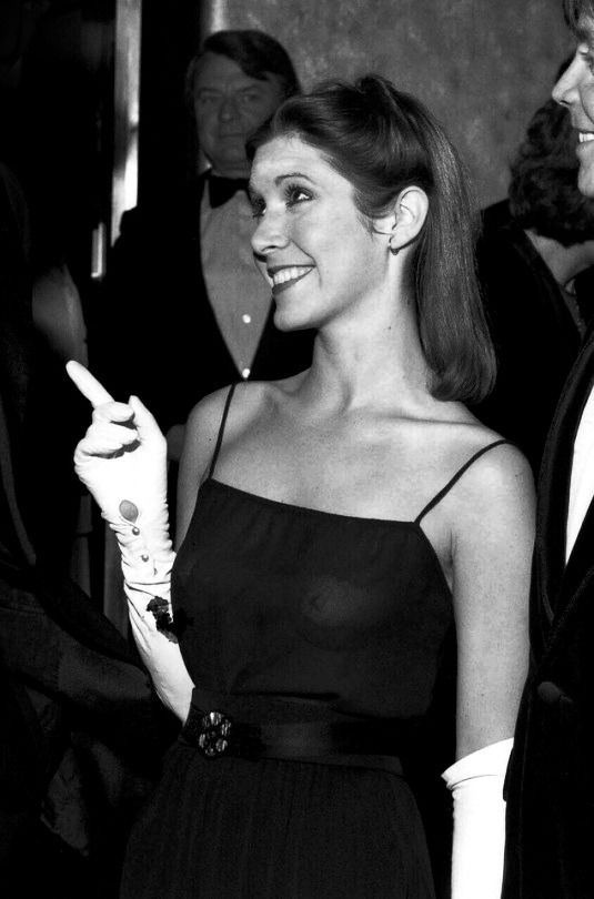 Carrie Fisher at the Star Wars premiere, 1977.
