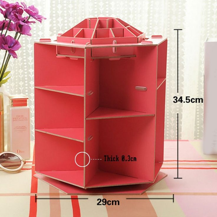Free Shipping 360 Degree Rotation Wooden Box Cosmetic Makeup Organizer Storage Box Sundries Display Cardboard