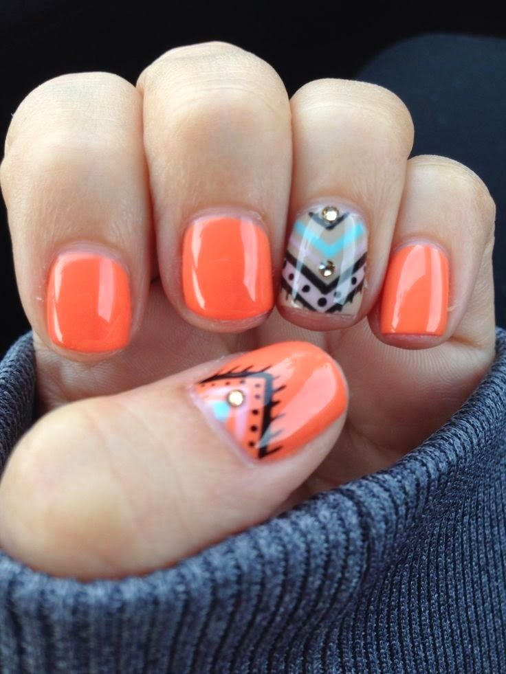 nails art 2014 Cute Nail Art Designs easy combinations - diseño de uñas fácil colores naranja azul ♛