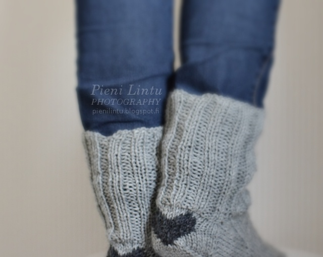 Grey socks with hearts