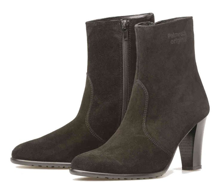 Palmroth high heel ankle boot black suede