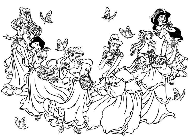 Galerie de coloriages gratuits coloriage-toutes-les-princesses-disney.