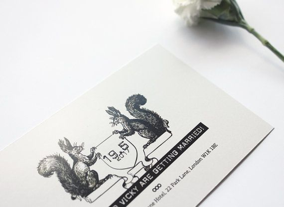 Wedding invitation. Squirrels announcing the by MessProject, €30.00  #weddinginvitation #weddingprint #wedding #invitation #diy #piy #monogram #savethedate