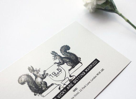 Wedding invitation. Squirrels announcing the by MessProject, €30.00  #weddinginvitation #weddingprint #wedding #invitation #diy #piy #monogram #savethedate
