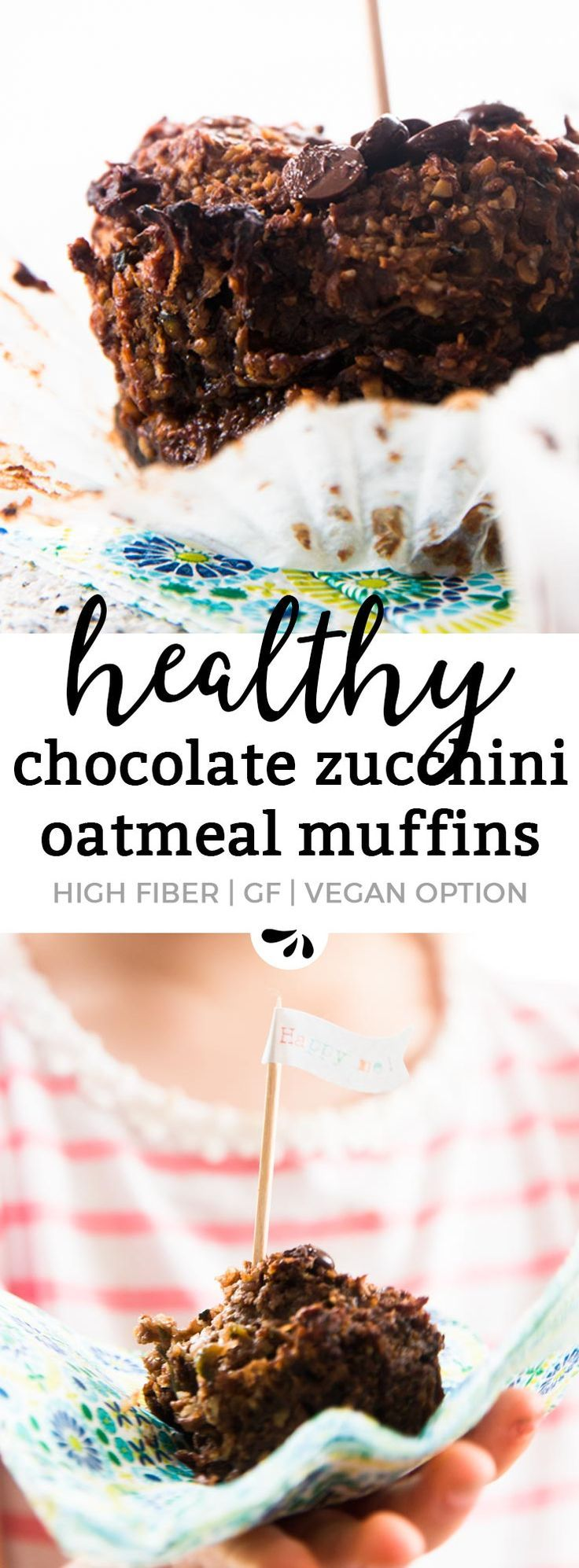 These Coconut Chocolate Zucchini Oatmeal Muffins are gluten free, dairy free, egg free and easily vegan if you substitute the honey with maple syrup or agave nectar. They're great if you're looking for healthy homemade snack recipes for kids and toddlers,