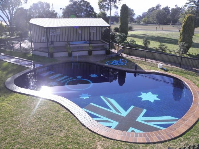 Guitar shaped swimming pool with Australian flag bottom - Tamworth, Australia.