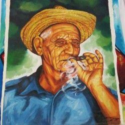 Cuban Cigar! Handmålad cigarr canvastavla föreställandes en äldre man som röker en cigarr.  Länk till produkt: http://www.feelhome.se/produkt/cuban-cigar/  #Homedecoration #Canvas #olipainting #art #interior #design #Painting #handpainted #Walldecor #väggdekor #interiordesign #canvastavla #canvastavlor #cuba #kuba #man #smoke #cigarr #gammalman #röker #färg #njuter #rök #natur #landet #konst