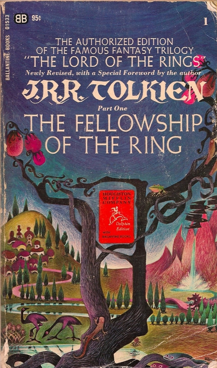 my dad had these copies too! I also have an amazing, huge map of Middle Earth that apparently came with these editions.    Art by Barbara Remington.