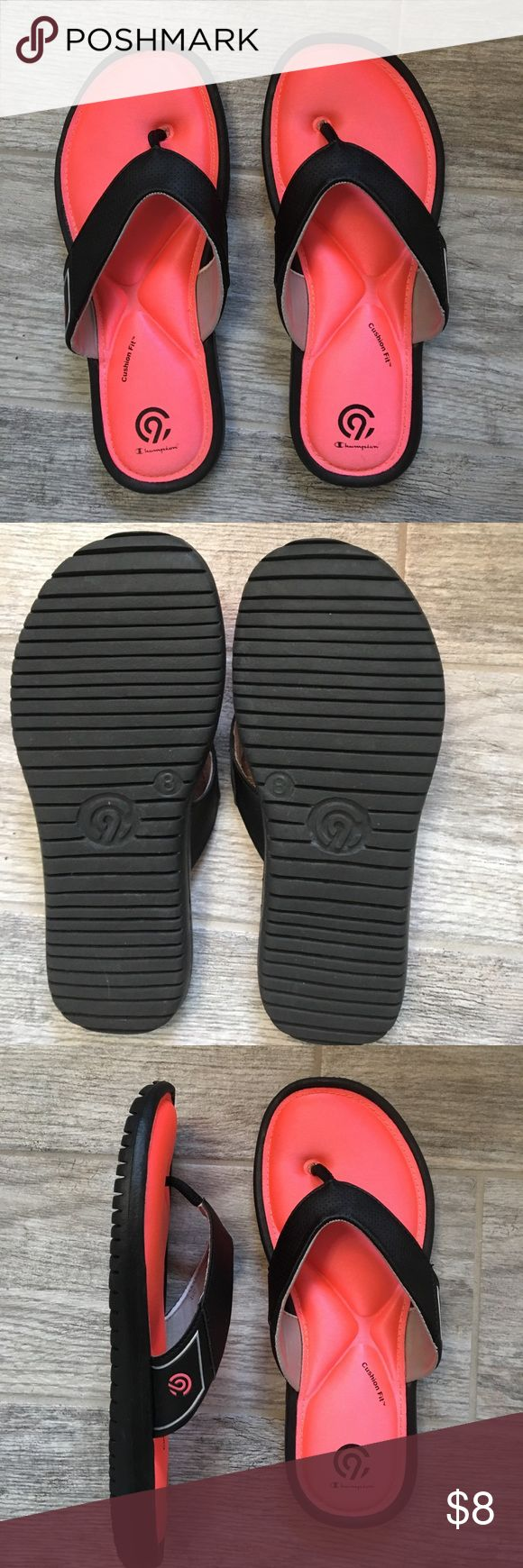 Champion cushioned flip flops VERY cushiony memory foam flip flops!   Feels great!   Worn once but don't fit me... happy to pass on to some deserving feet that need some love! ❤️💕 Champion Shoes