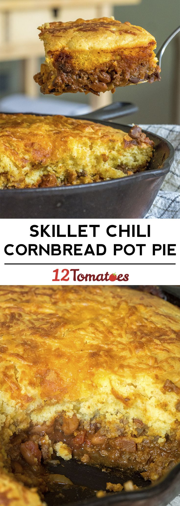Skillet Chili Cornbread Pot Pie