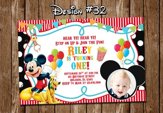 Mickey Mouse Clubhouse Carnival Circus Birthday Party Photo Invitations - Printable