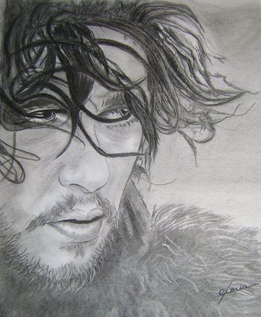 John snow (Game of thrones) Dibujo a carboncillo por Gloria Casas