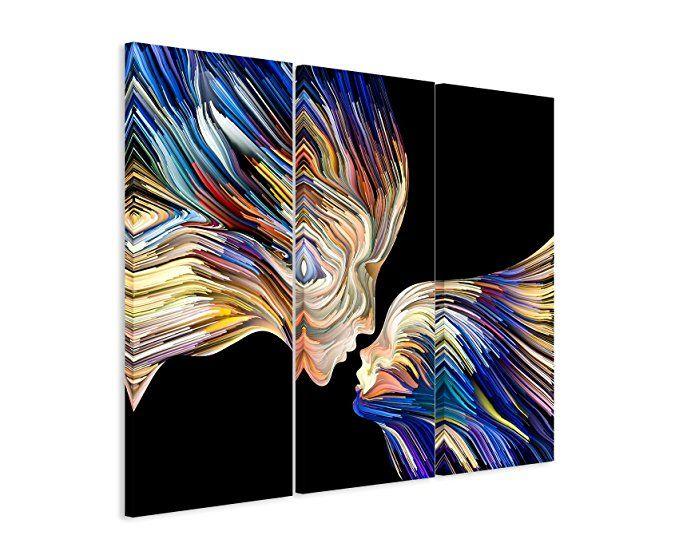 3 teiliges leinwand bild 3x90x40cm gesamt 130x90cm illustration bunte gesichter im seitenprofil auf exklusi moderne fotografie abstrakt kunstwerke 20x20 preisvergleich 40x40 günstig