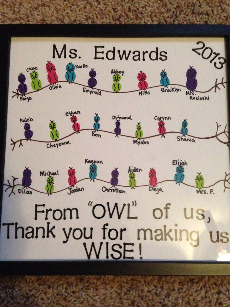 Student teacher gift- owl theme