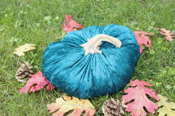 Handmade Velvet Pumpkin with Real Pumpkin Stem