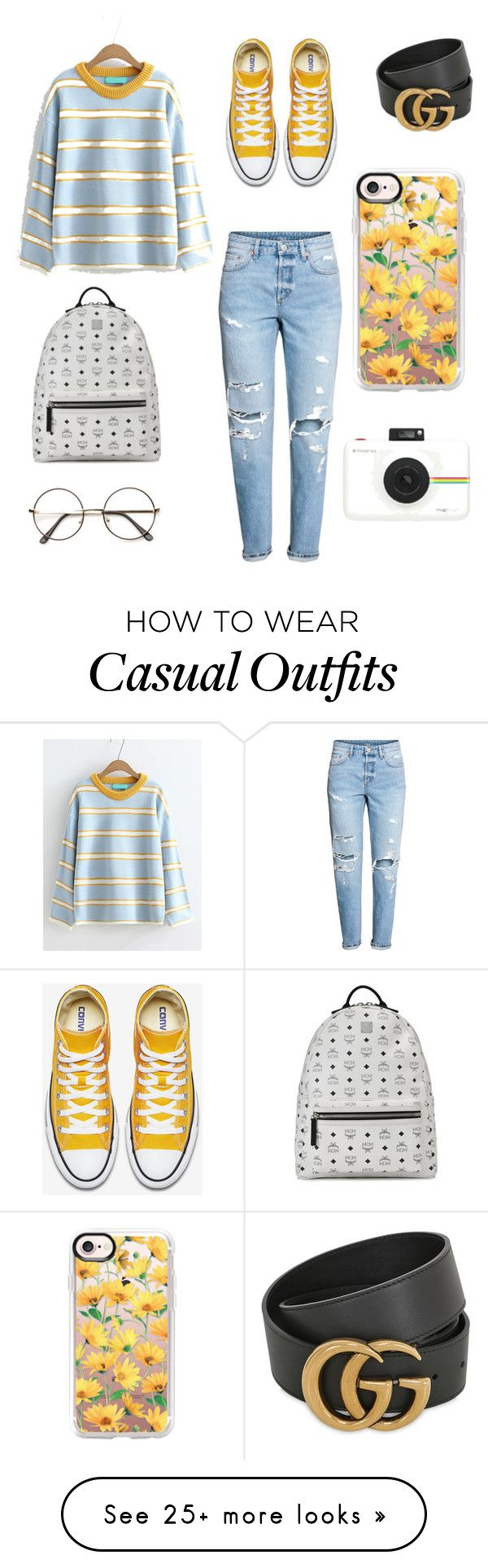 """Subtle yet casual hypebeast"" by ybuidens on Polyvore featuring H&M, MCM, Gucci, Casetify and Polaroid"