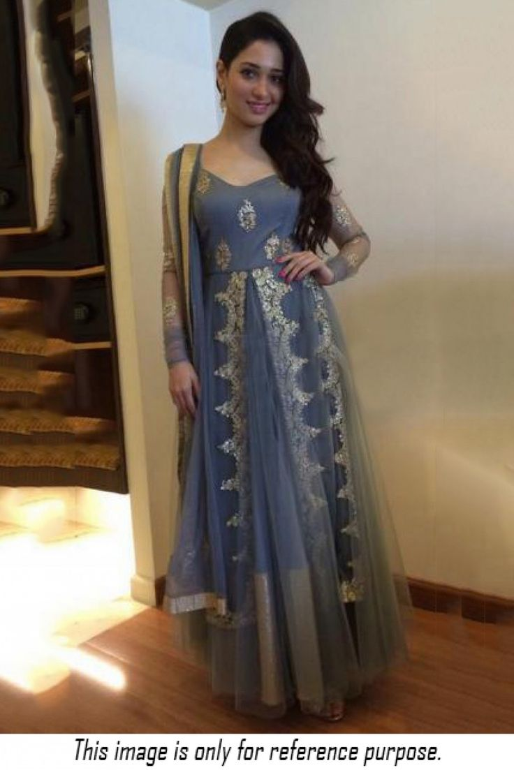 The Cool and Classy Grey Coloured, Tamanna Bhatia Style Salwar Suit Is an Exclusive Collection With Stunning Multi Work,Embroidery,Patch Work. With Stylish Patterns and Designer Style, This Bollywood ...