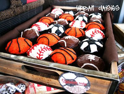 Are you hosting an active or sports inspired party for your little ones? Try baking sports inspired cupcakes as dessert!