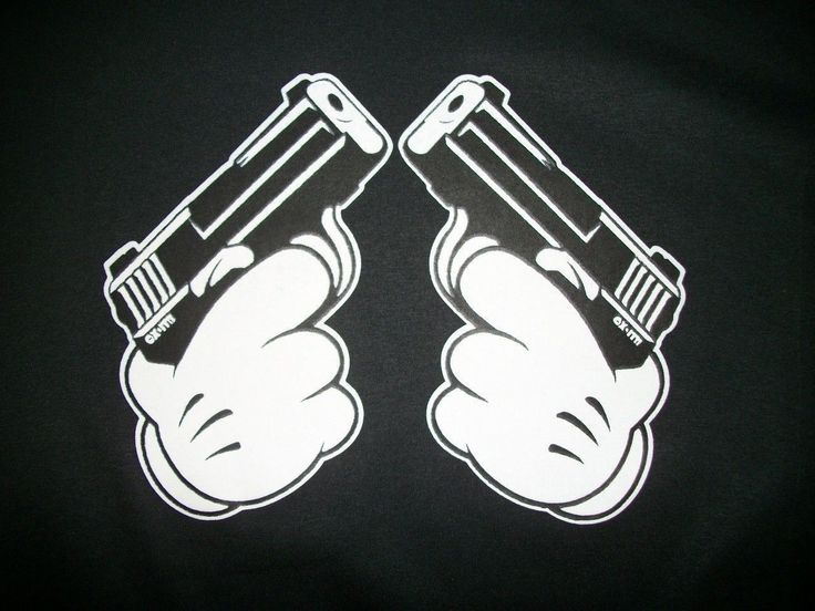 Gangsta Drawings With Guns Cool T Shirt Ca...