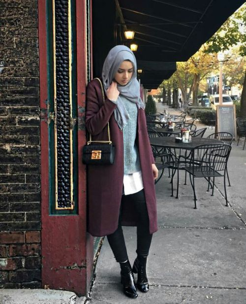 PINTEREST: @MUSKAZJAHAN - maroon-long-winter-coat-with-grey-outfit