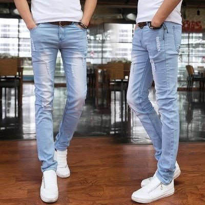 2016 spring and summer new men's jeans pants Korean style influx sky blue casual trousers cool stretch man pants