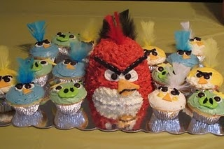 Angry Birds Party Food - Angry Birds Birthday Cake - Find more Angry Birds party ideas at http://www.birthdayinabox.com/party-ideas/guides.asp?bgs=196