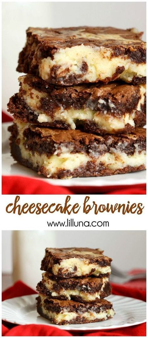 AMAZING Cheesecake Brownies - the delicious chocolate dessert with a cream cheese and white chocolate chip layer. Recipe on { http://lilluna.com }