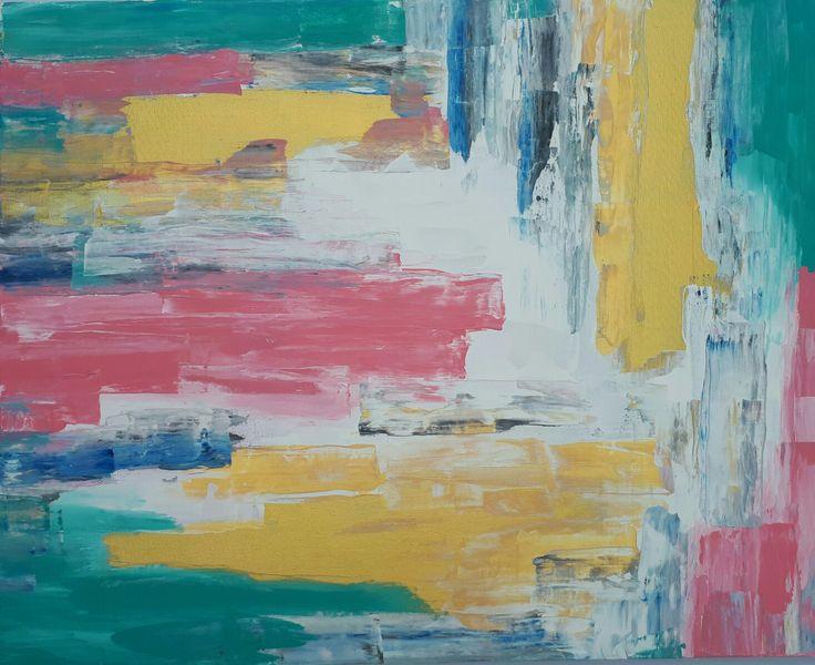 MELVILLE ART; Modern Abstract Painting, Gold, Pink & Aqua.