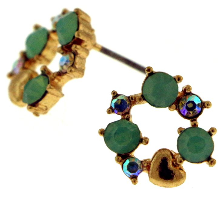 Small Gold-Tone Earrings With Teal And Iridescent Colored Rhinestone Accents TME577