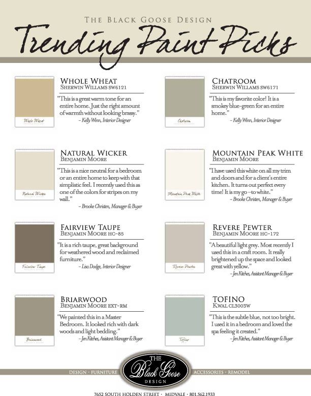 paint colors - love chatroom and can't wait to see what natural wicker (for family room) and tofino (for master) look like in my house.
