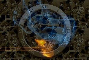 an attempt at making some new computer background wallpaper with clock faces and flame.