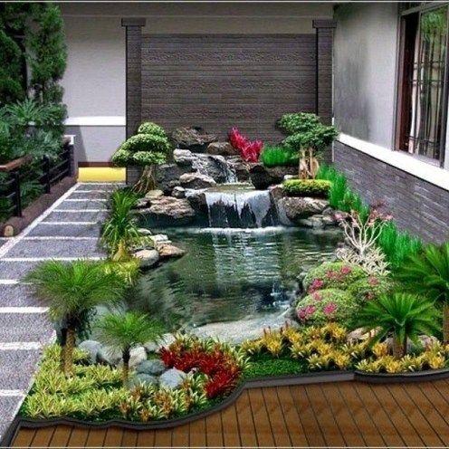 bentuk taman depan rumah minimalis di 2020 | kolam ikan