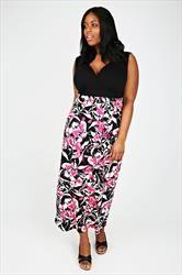 Black, White & Pink Floral Print Maxi Dress With V-Neckline