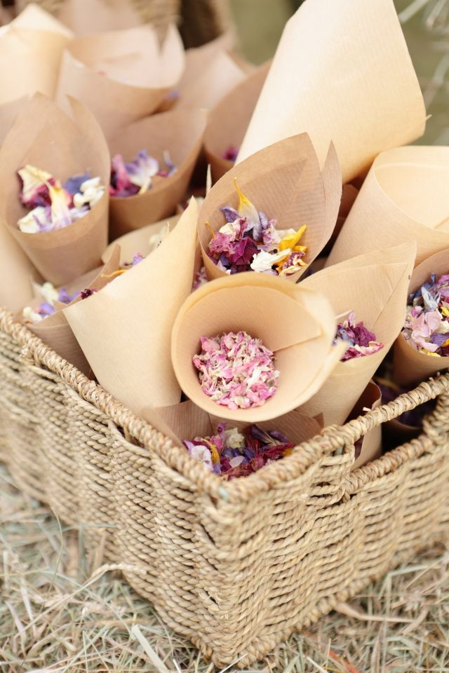 Instead of throwing rice, fill paper cones with dried floral petals.  A frugal way to do this would be to ask a local flower shop if you can have the flowers they throw out, take them home and dr.y the petals!  Store in an airtight container until the wedding