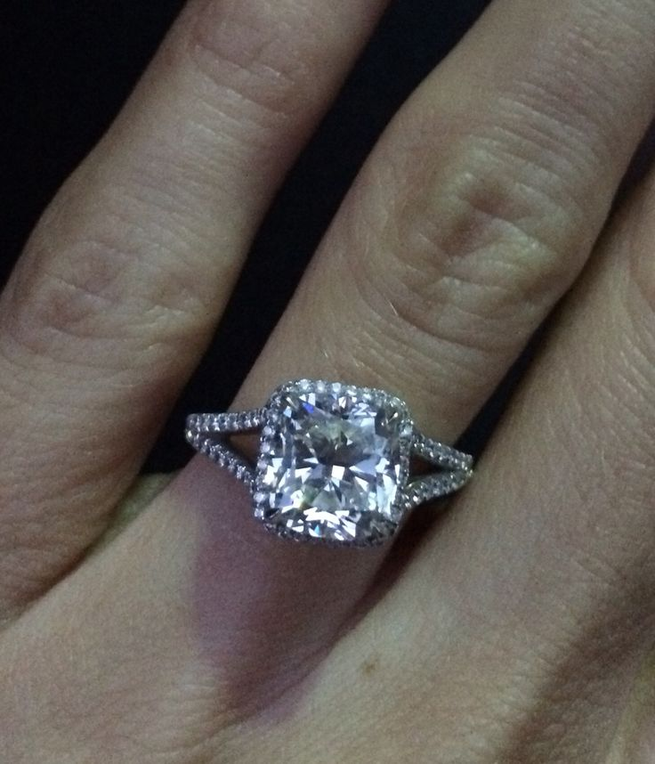 Cushion cut with micropave halo and split shank