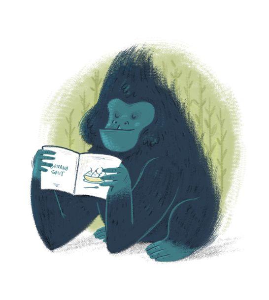 Diego Caceres #illustration #monkey #bananasplit #ape #apes