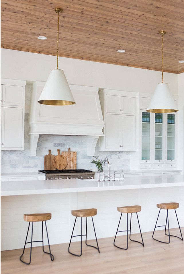 Kitchen Lighting. Kitchen Island Lighting. Transitional Kitchen Lighting. White and Gold Goodman Hanging Lamps. Kitchen Lighting. #KitchenLighting #GoodmanHangingLamps Ashley Winn Design.: